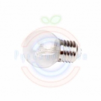 Лампа шар e27 6 LED Ø45мм - желтая, прозрачная колба, эффект лампы накаливания
