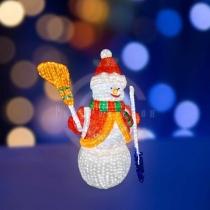 Акриловая светодиодная фигура «Снеговик с лопатой и метлой» 160см, 3160 светодиодов, IP 44, трансформатор