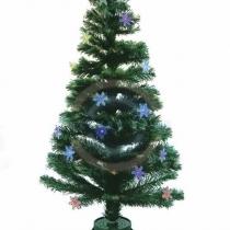 """Новогодняя Ель фибро-оптика """"Снежинка"""" 120 см,  125 веток,  с декоративными украшениями"""
