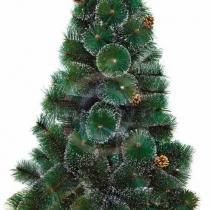 Новогодняя ель 120см с 10 шишками и снегом, 90 веток, цвет зеленый