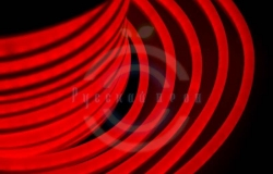 Гибкий неон LED, красные диоды, оболочка красная, бухта 50м