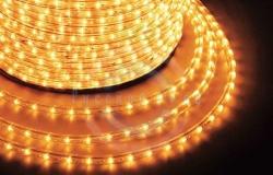 Светодиодный дюралайт 3-х проводной, желтые диоды